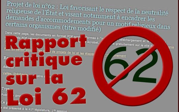 Rapport critique sur la Loi 62 adoptée par l'Assemblée nationale du Québec le 18 octobre 2017