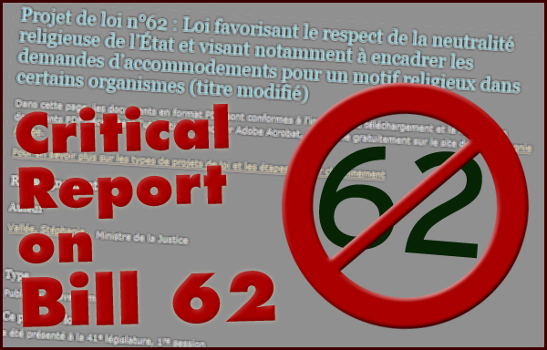 Critical Report on Bill 62, Adopted by the Québec National Assembly on October 18, 2017