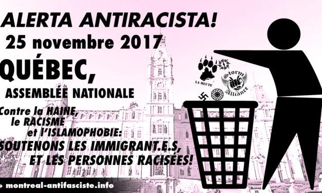 Alerte antiraciste! 25 novembre — Assemblée nationale, Québec