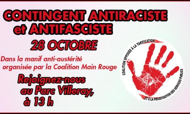Joignez-vous au contingent antiraciste et antifasciste dans la manif anti-austérité du 28 octobre!