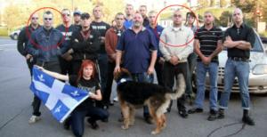 Francis Hamelin (à gauche) et Mathieu Bergeron avec des militant-e-s de 3e Voie Québec, lors d'une manifestation antisémite dans la municipalité d'Hampstead, en 2011. Au centre (avec le chien) le Major Serge Provost, de la défunte Milice patriotique du Québec. Tout au fond, avec la chemise noire, Maxime Taverna, de La Bannière Noire.