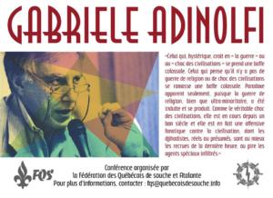 Affiche promotionnelle de la conférence de Gabriele Adinolfi, organisée par Atalante et la Fédération des Québécois de souche en août 2016.