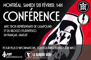 Affiche annonçant une conférence de militants de CasaPound organisée par La Bannière Noire et la Fédération des Québécois de souche, le 28 février 2015