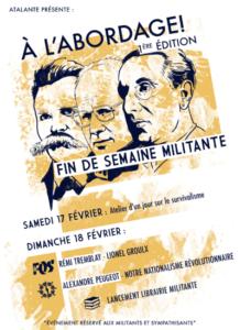 Affiche annonçant un séminaire de formation à l'intention des militant-e-s et sympathisant-e-s d'Atalante, en février 2018, avec un conférencier de la Fédération des Québécois de souche.
