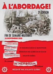 Affiche annonçant un séminaire de formation à l'intention des militant-e-s et sympathisant-e-s d'Atalante, en novembre 2018, avec un conférencier de la Fédération des Québécois de souche.