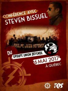 Affiche annonçant la tenue d'une conférence d'un militant du Groupe Union Défense, organisée par Atalante et la FQS, en mai 2017.