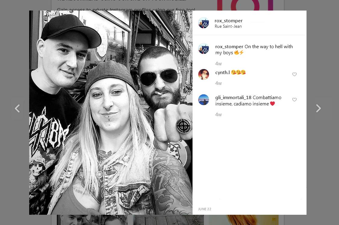 Un preview d'Instagram, Louis Fernandez exhibe une bague figurant l'emblème « White Power », juin 2019