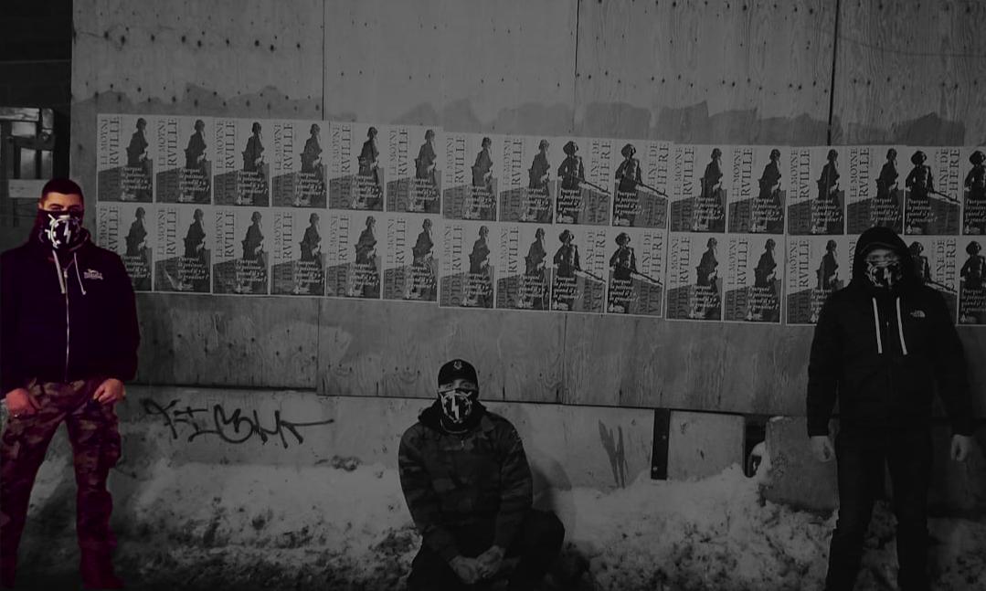 Louis Fernandez participe à une action d'affichage avec Atalante, hiver 2019.