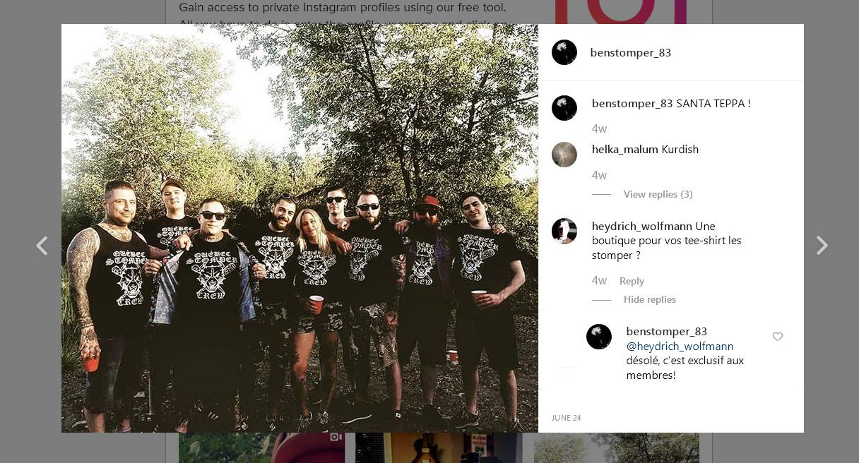 Un preview d'Instagram, Louis Fernandez reçoit ses couleurs du Québec Stomper Crew, juin 2019.