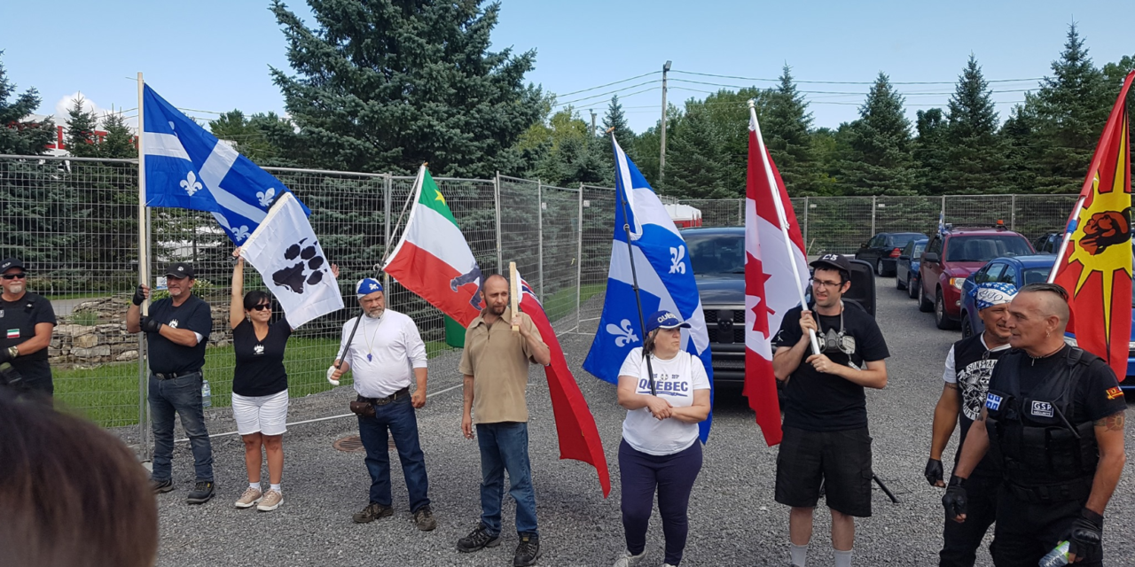 """Dozens of so-called Quebec """"patriots"""" join forces with Canadian neo-Nazis and ultra-nationalists to demonstrate against immigrants in Lacolle"""