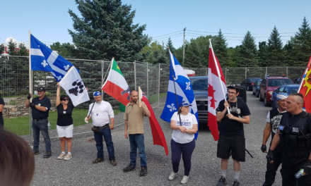 "Dozens of so-called Quebec ""patriots"" join forces with Canadian neo-Nazis and ultra-nationalists to demonstrate against immigrants in Lacolle"