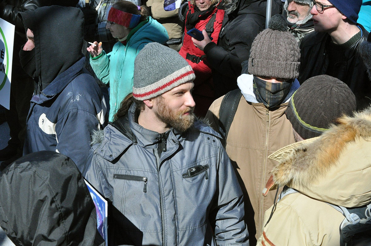 "Alexander Liberio, alias ""Neuromancer,"" at the La Meute demonstration in Montréal on March 4, 2017."