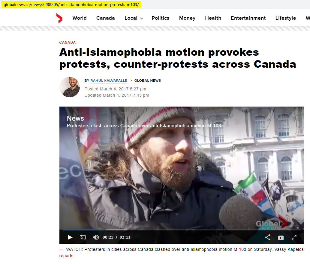 "Alexander Liberio, alias ""Neuromancer,"" talks to Global News at the La Meute demonstration in Montréal on March 4, 2017."